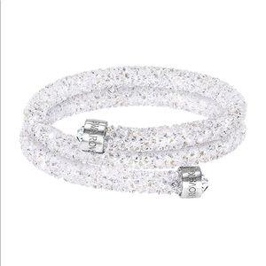 Swarovski crystaldust white double bangle bracelet
